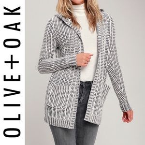 🆕 Olive + Oak White and Grey Knit Hooded Cardigan